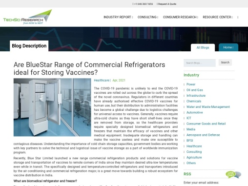 Are BlueStar Range of Commercial Refrigerators ideal for Storing Vaccines? | TechSci Research