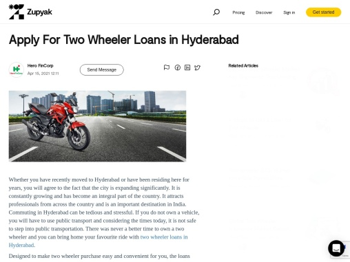 Apply For Two Wheeler Loans in Hyderabad