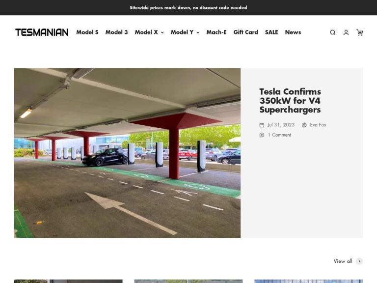 Tesmanian.com screenshot