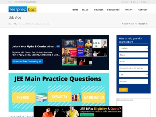 JEE Main Practice Questions Topic Wise with Solution