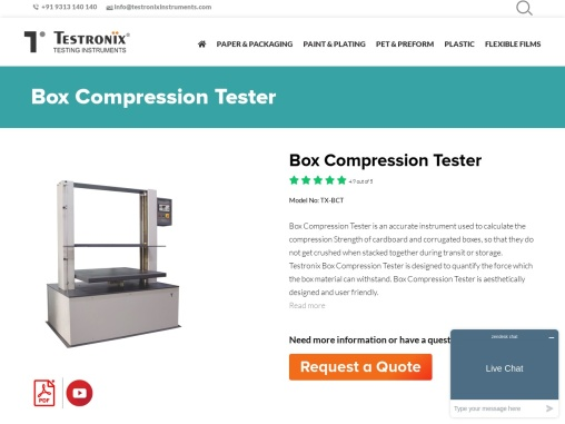 Box Compression Tester Digital Manufacturer in Delhi NCR