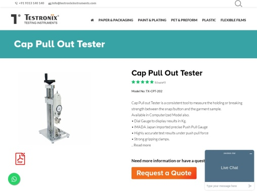 Cap Pull Out Tester Manufacturer in Delhi NCR, India