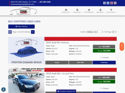 Buy Certified Used Cars Tx   Used Cars For Sale In Spring Tx
