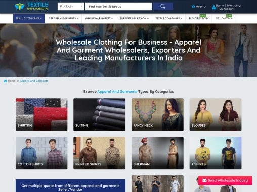 Apparel and Garment wholesalers, exporters and leading manufacturers in India