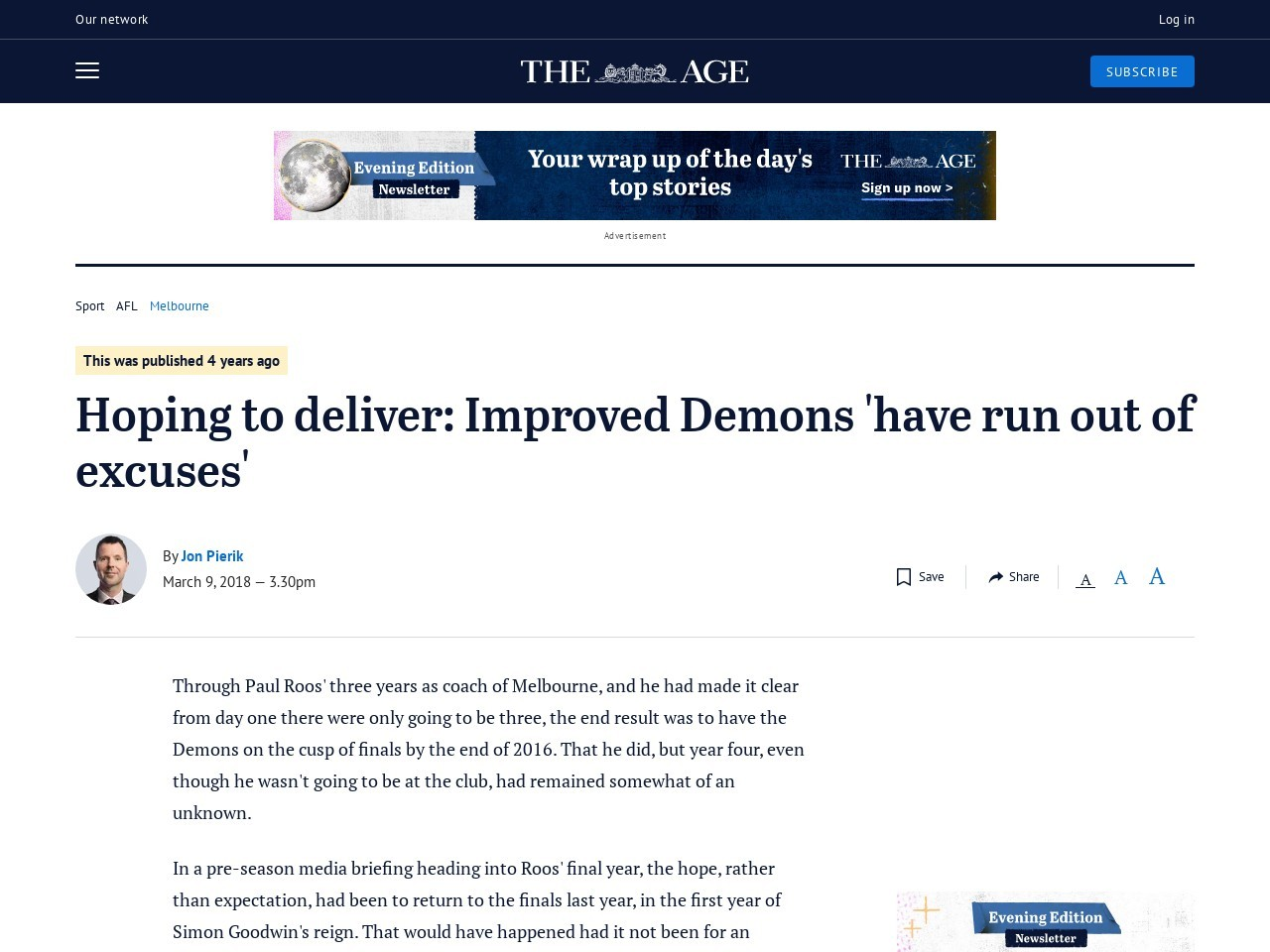 Hoping to ship: Improved Demons 'have run out of excuses'