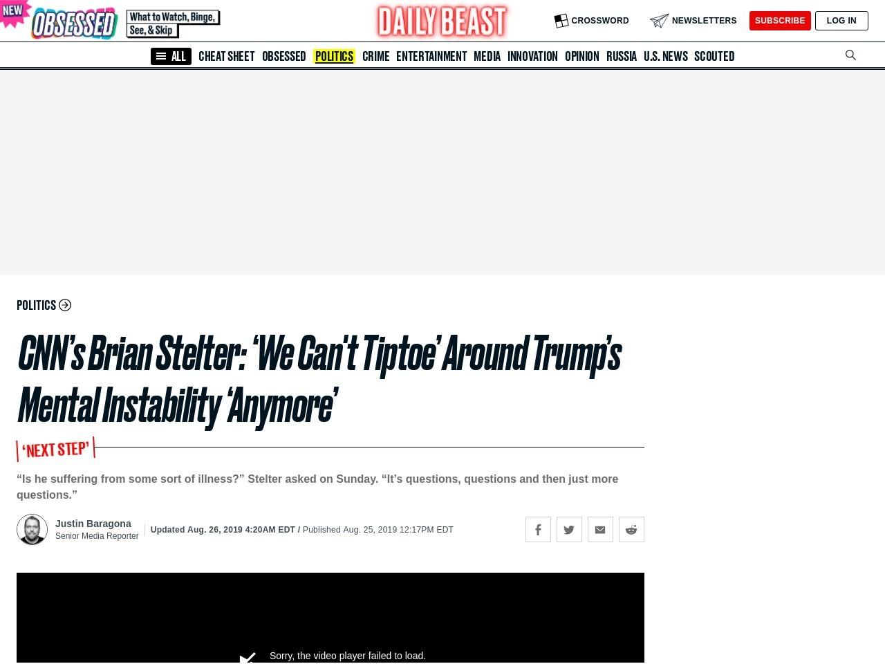 CNN's Brian Stelter: 'We Can't Tiptoe' Around Trump's Mental…