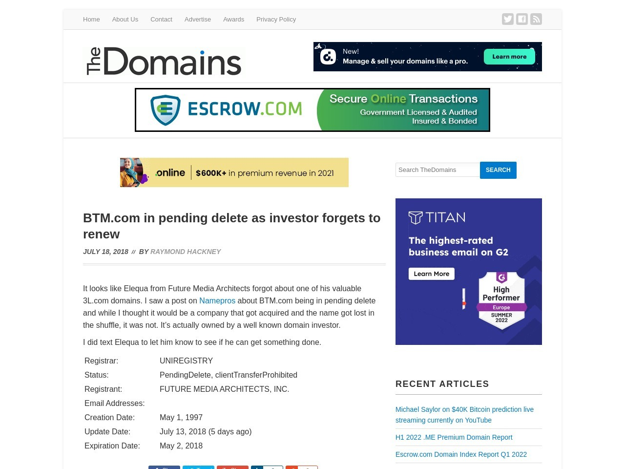 BTM.com in pending delete as investor forgets to renew