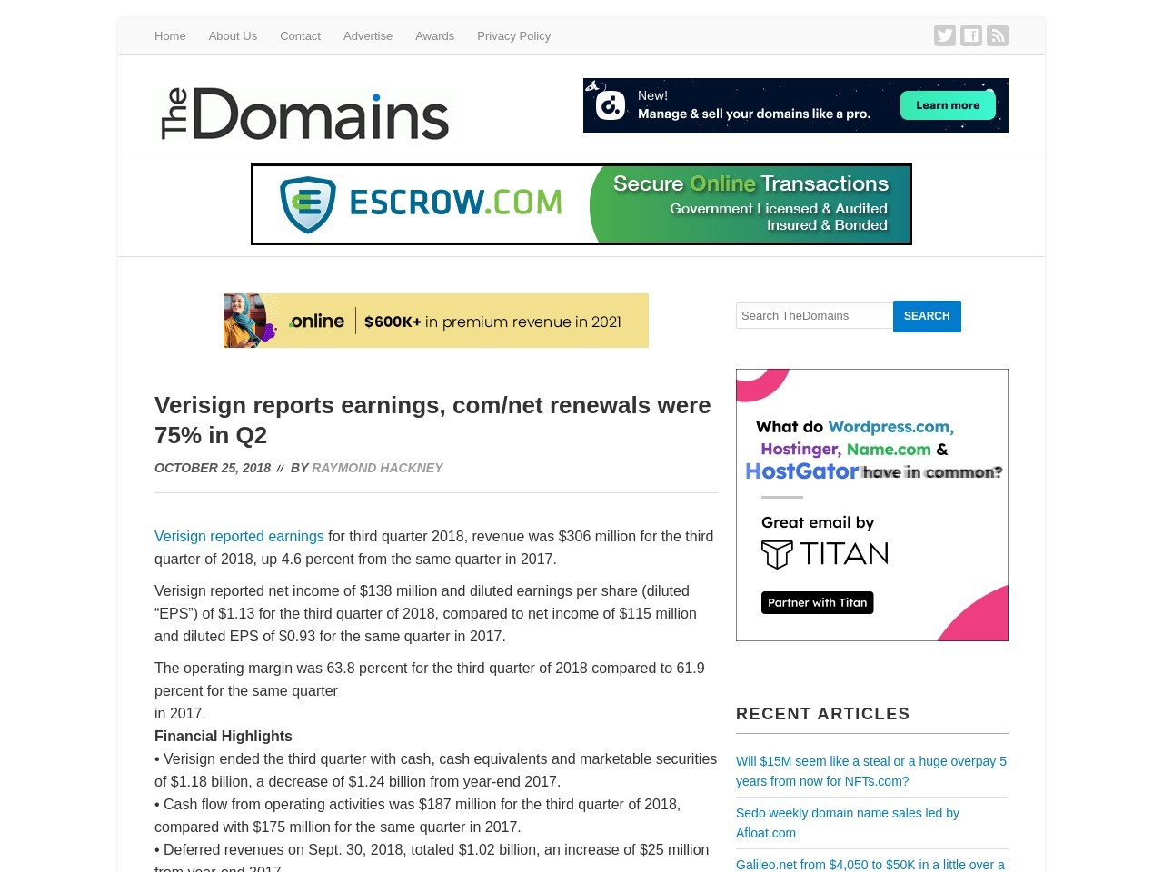 Verisign reports earnings, com/net renewals were 75% in Q2