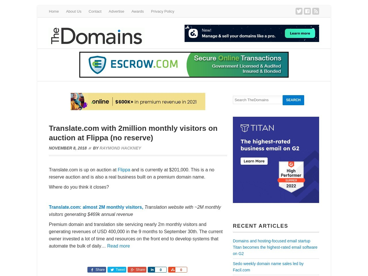 Translate.com with 2million monthly visitors on auction at Flippa (no reserve)