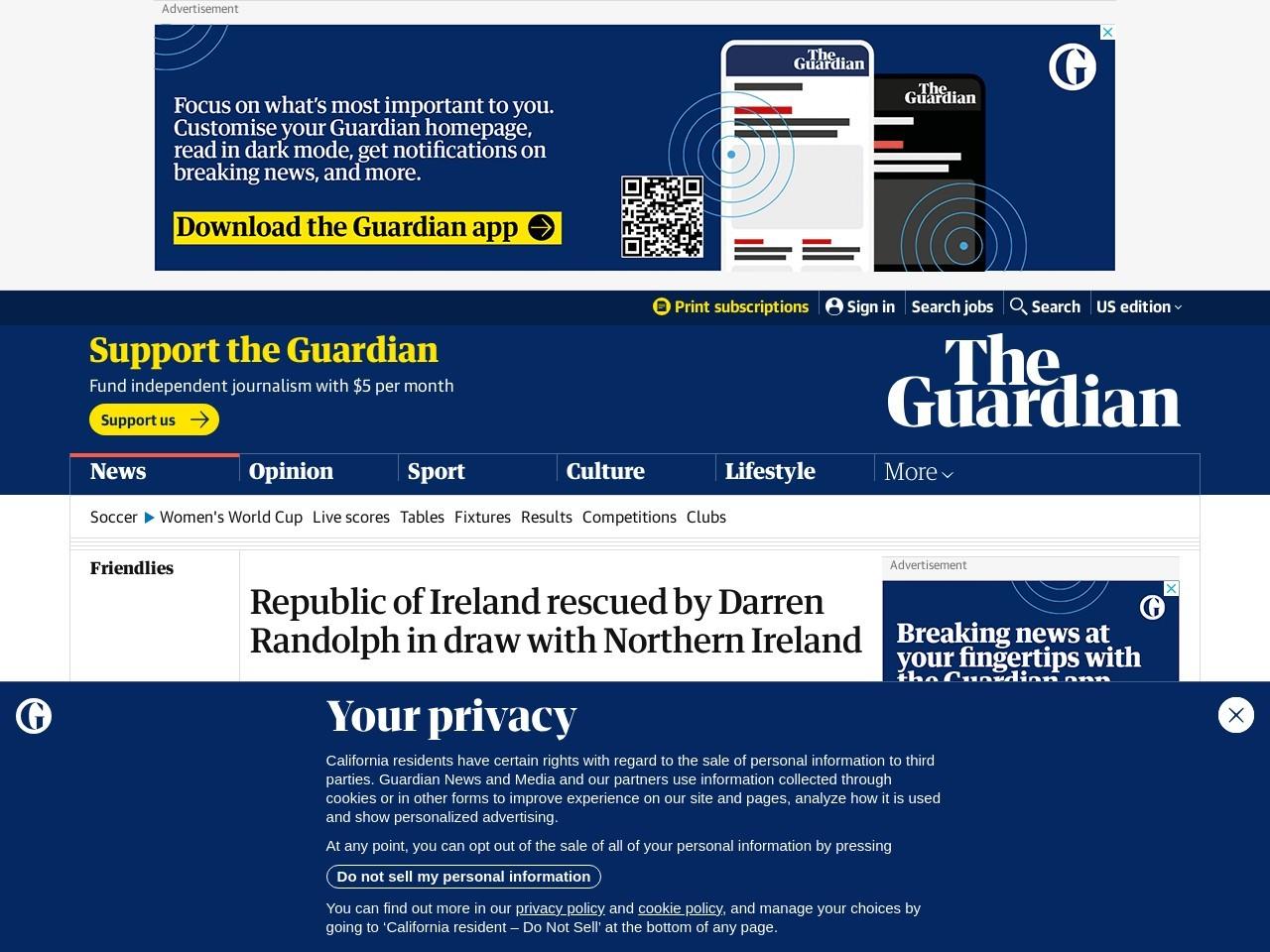 Republic's Darren Randolph keeps Northern Ireland at bay