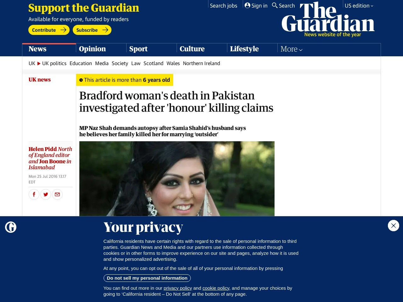 Bradford woman's death in Pakistan investigated after 'honour' killing claims