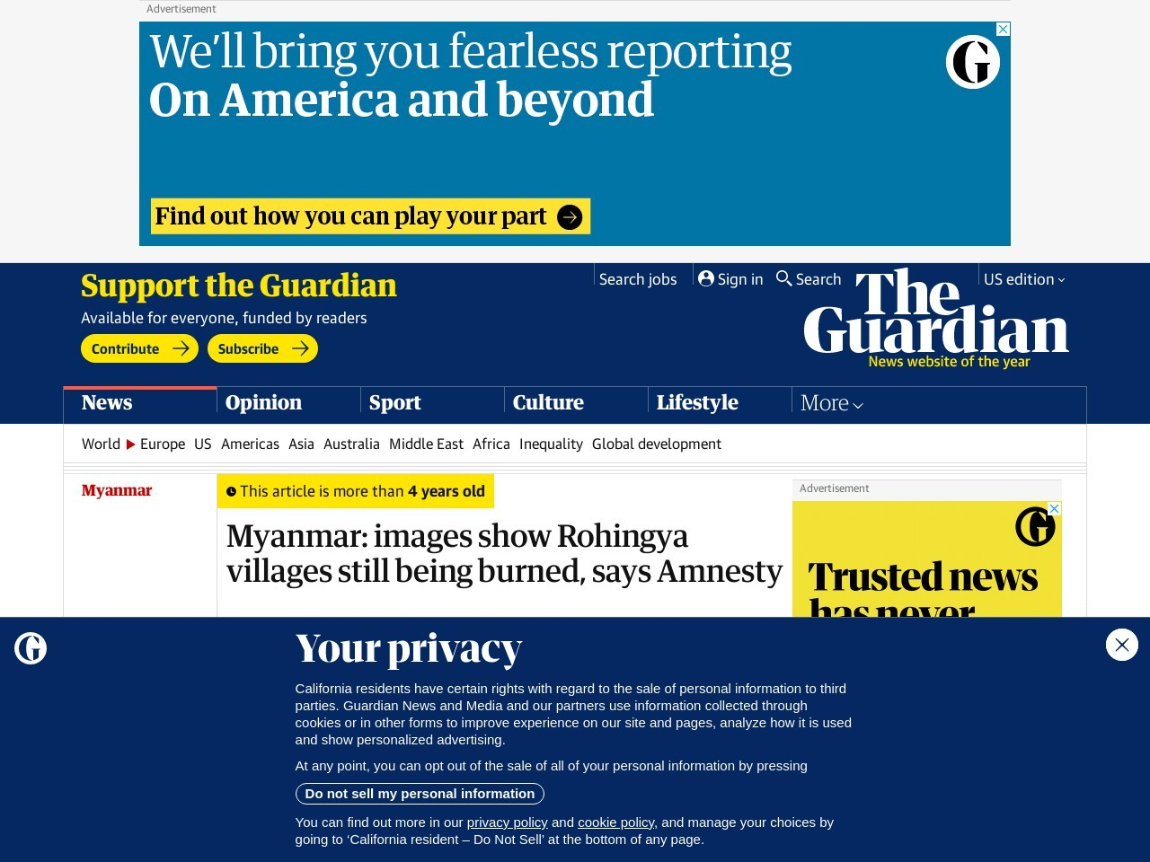 Myanmar: images show Rohingya villages still being burned, says Amnesty