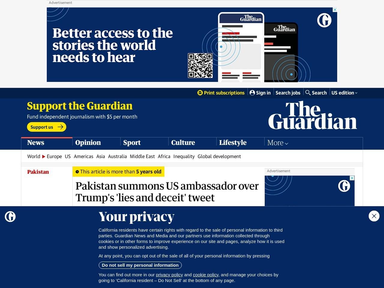 Pakistan summons US ambassador over Trump's 'lies and deceit' tweet