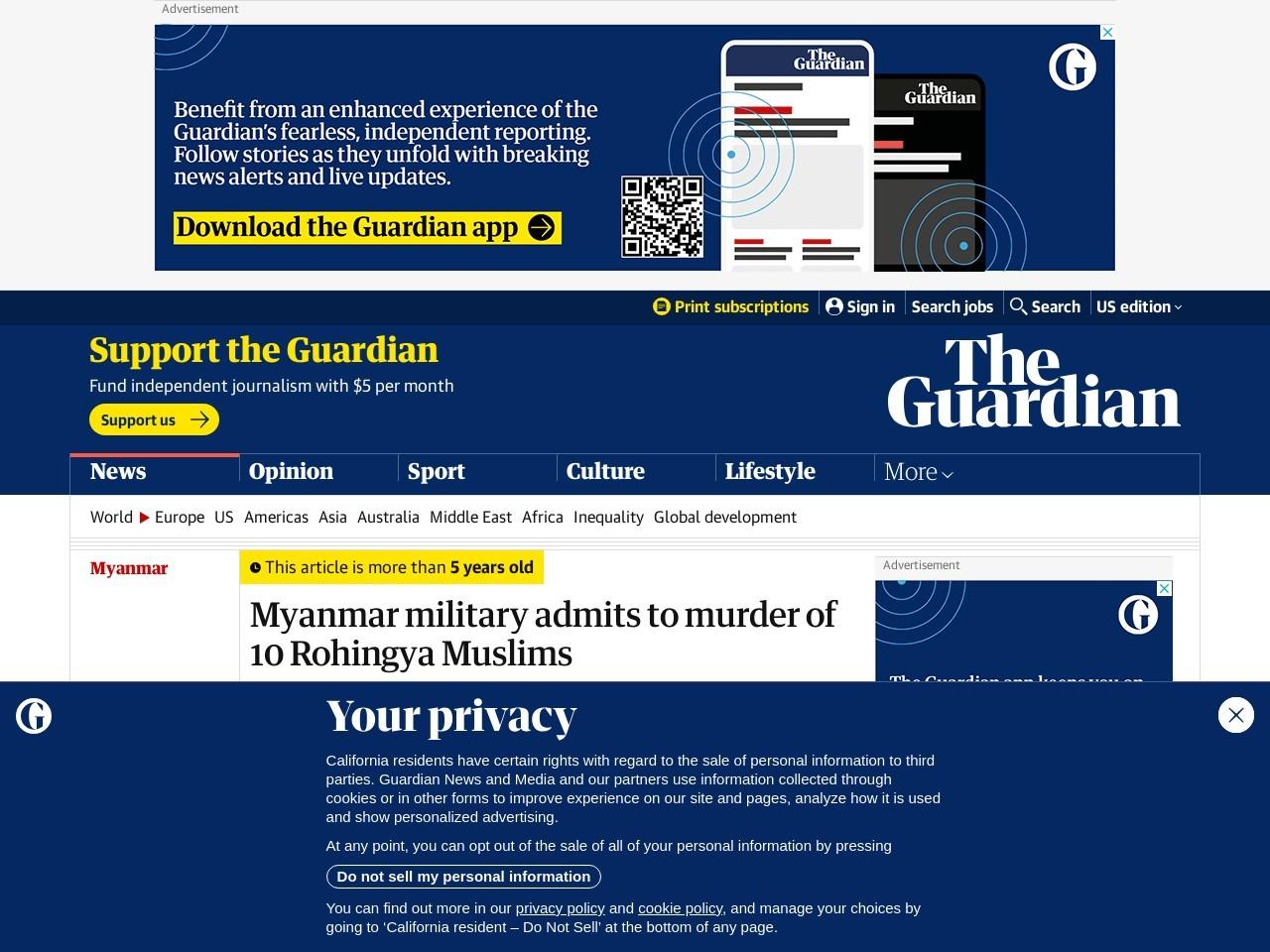 Myanmar military admits to murder of 10 Rohingya Muslims