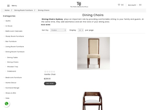 Buy wooden dining chairs in Sydney