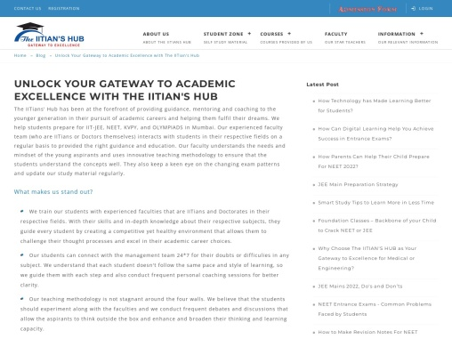 Unlock Your Gateway to Academic Excellence with The IITian's Hub