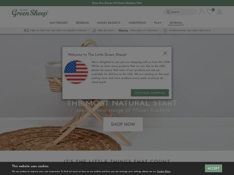 The Little Green Sheep Discount Codes screenshot