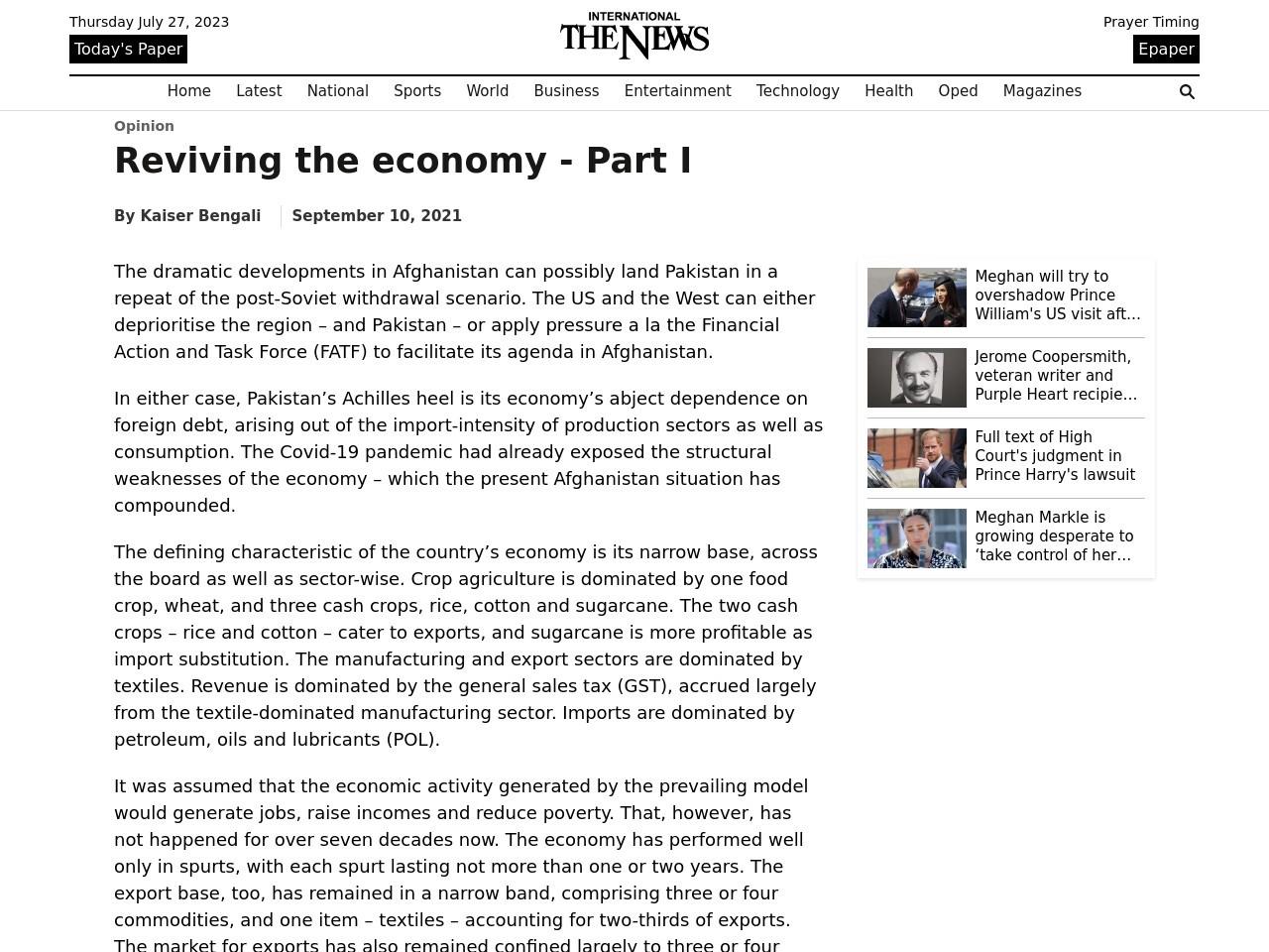 Reviving the economy – The News International
