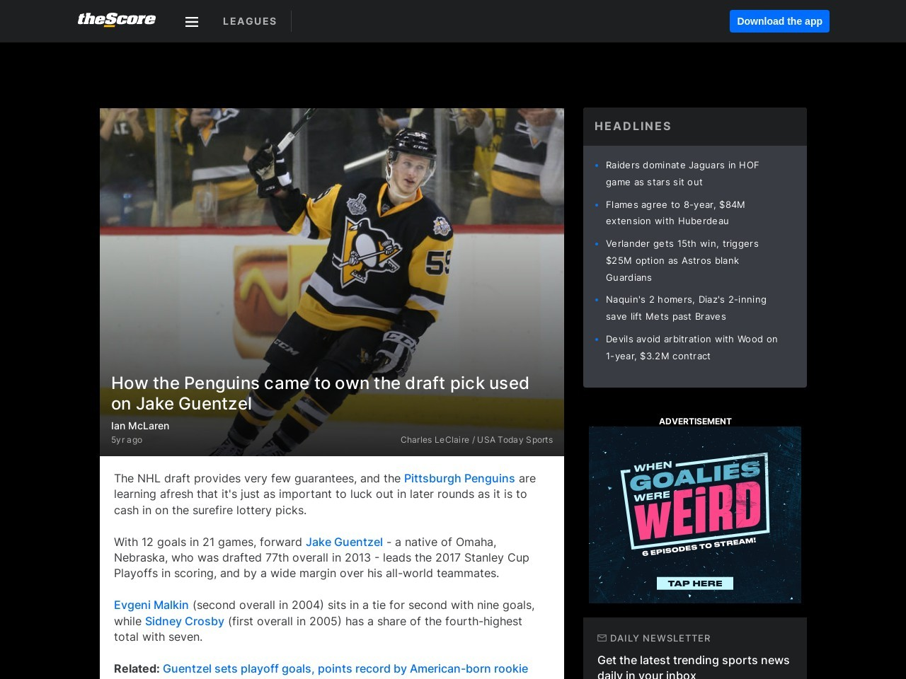 How the Penguins came to own the draft pick used on Jake Guentzel