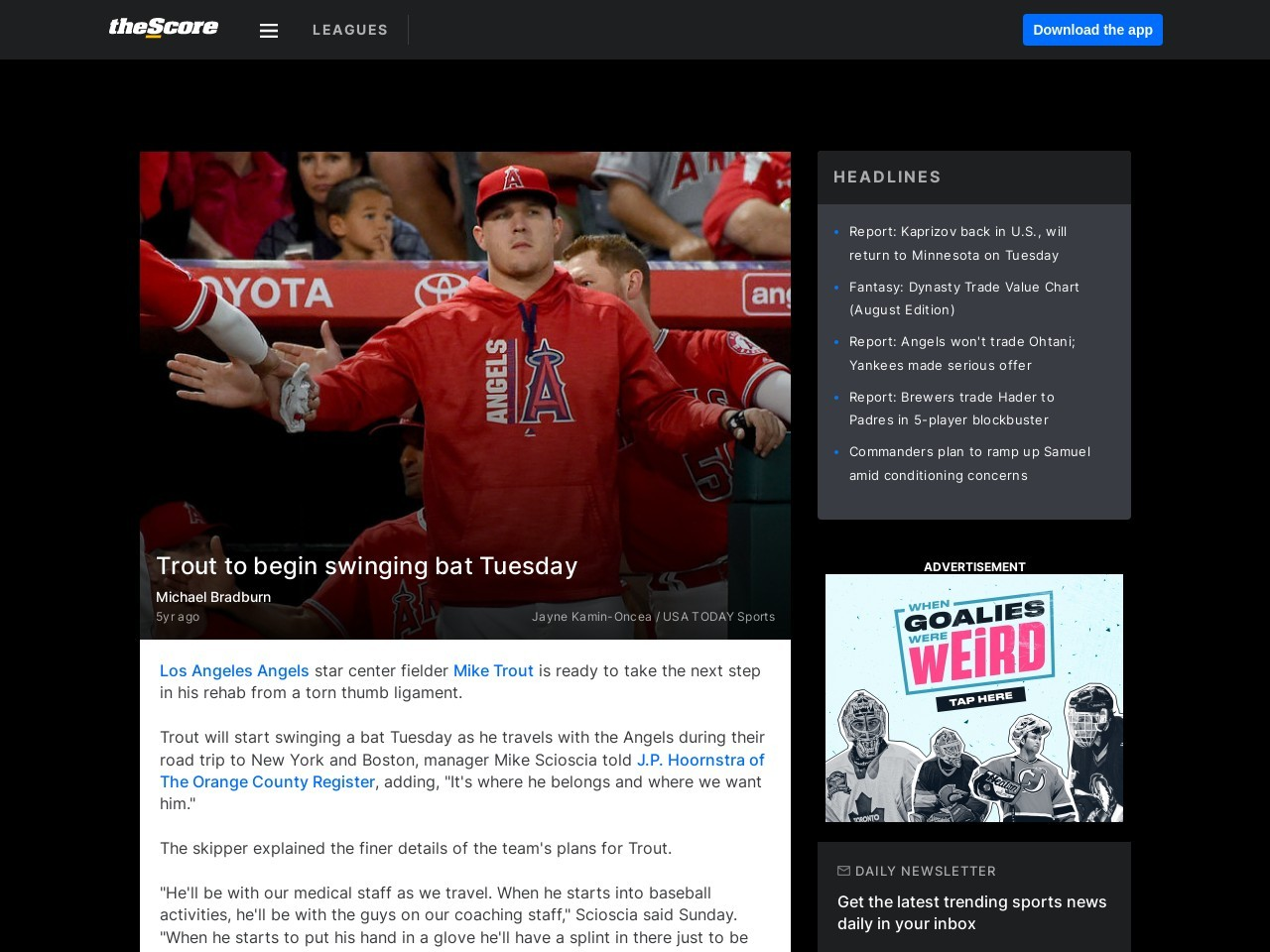 Trout to begin swinging bat Tuesday