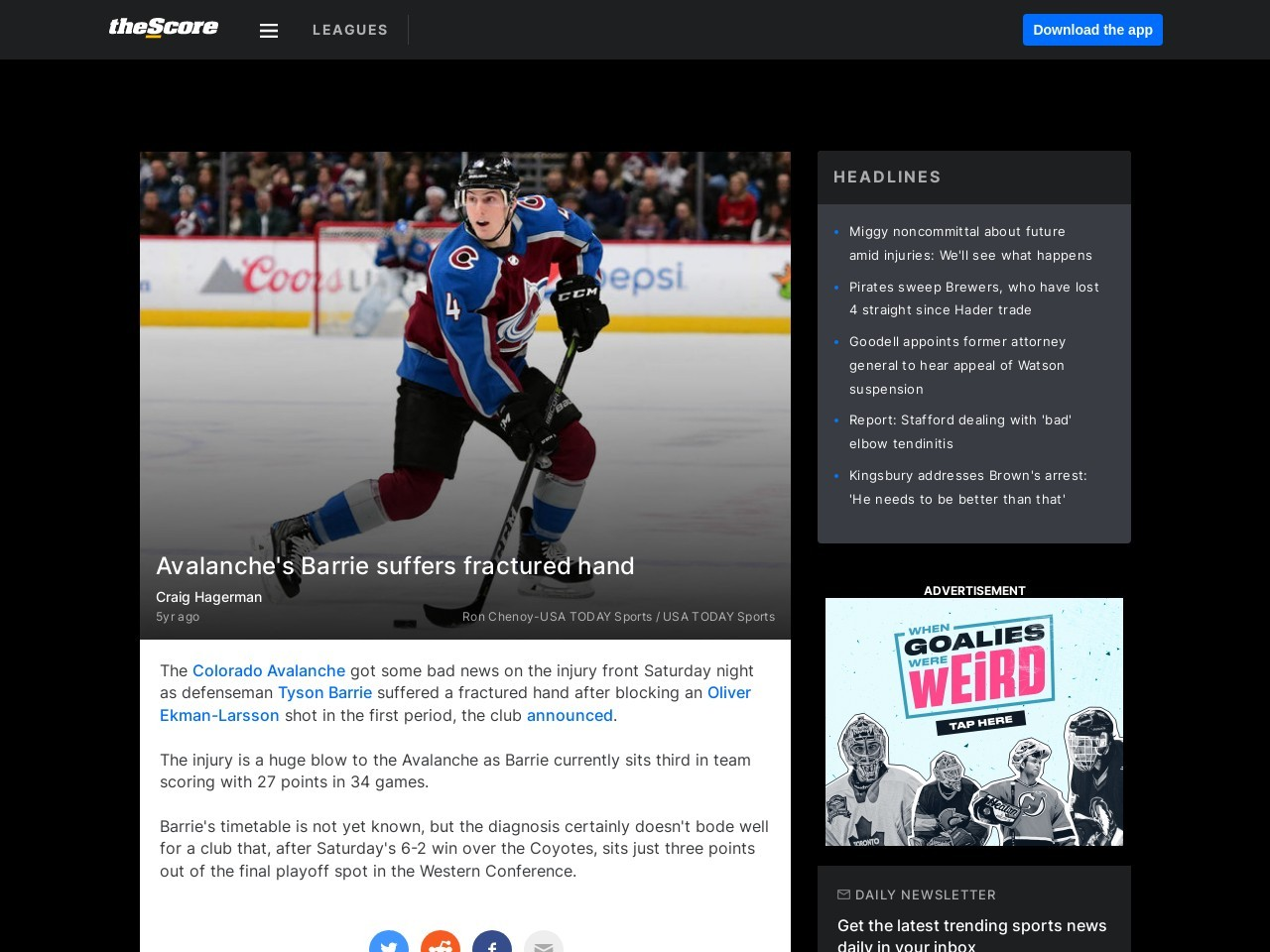 Avalanche's Barrie suffers fractured hand