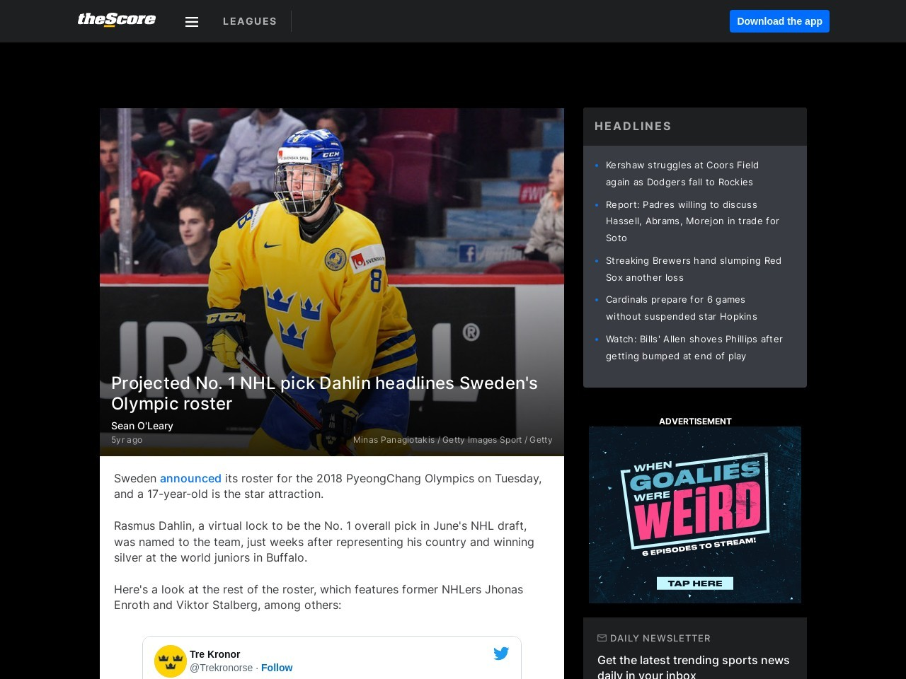 Projected No. 1 NHL pick Dahlin headlines Sweden's Olympic roster