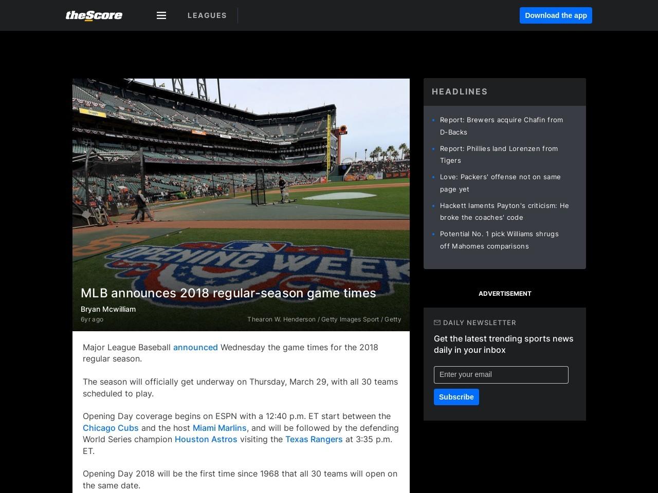 MLB announces 2018 regular-season game times