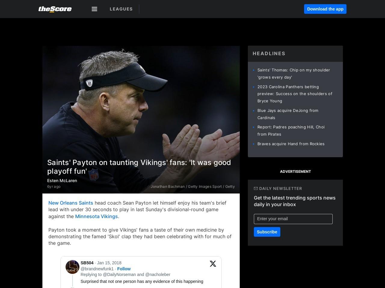 Saints' Payton on taunting Vikings' fans: 'It was good playoff fun'