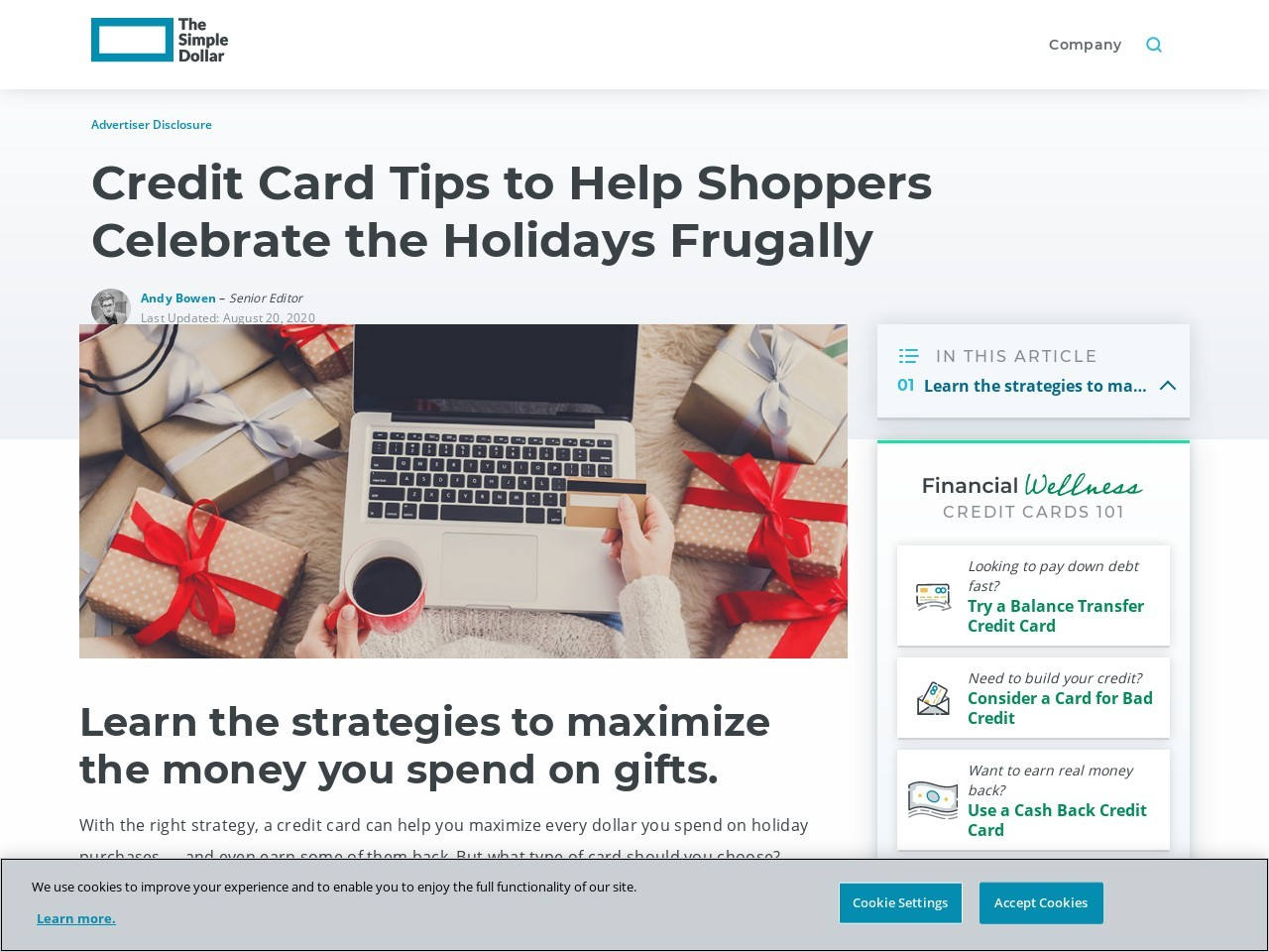 Credit Card Tips to Help Shoppers Celebrate the Holidays Frugally