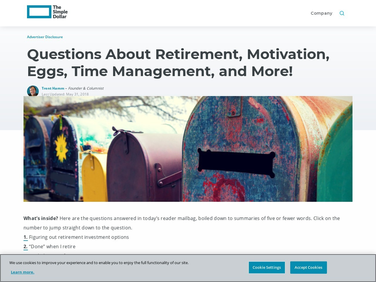 Questions About Retirement, Motivation, Eggs, Time Management, and More!