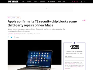 Apple confirms its T2 security chip blocks some third-party repairs of new Macs - The Verge