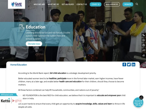 The We Foundation Best NGO for Children Education in West Bengal