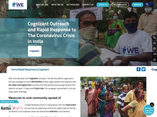 Cognizant outreach and The We Foundation rapid response to the coronavirus in India
