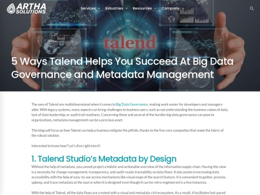 5 Ways Talend Helps You Succeed At Big Data Governance and Metadata Management