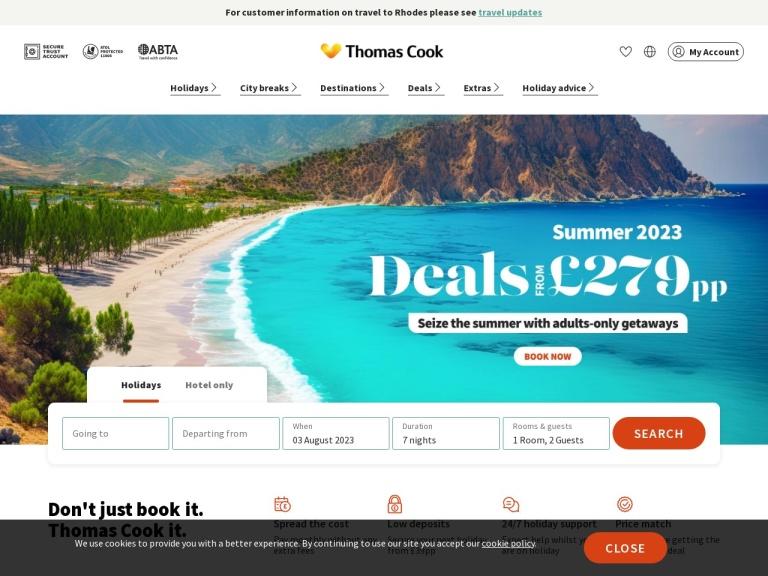 Thomas Cook Discount Codes screenshot