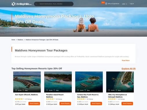 55 Best Maldives Honeymoon Packages, UPTO 50% OFF
