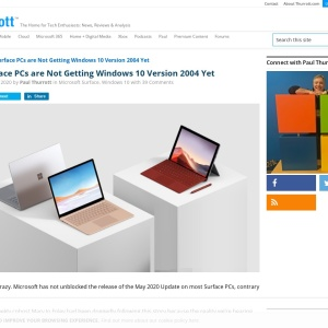Most Surface PCs are Not Getting Windows 10 Version 2004 Yet - Thurrott.com