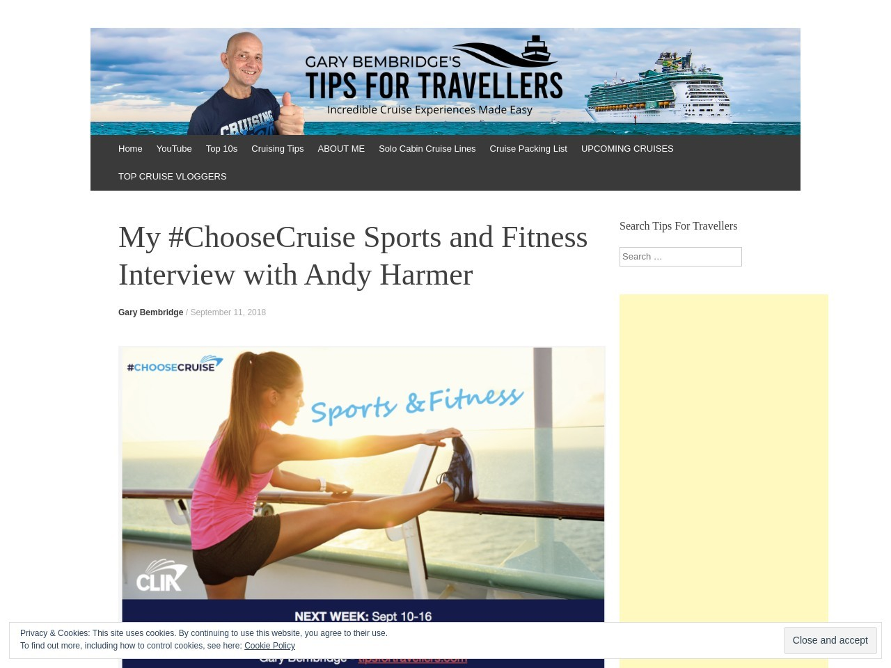 My #ChooseCruise Sports and Fitness Interview with Andy Harmer