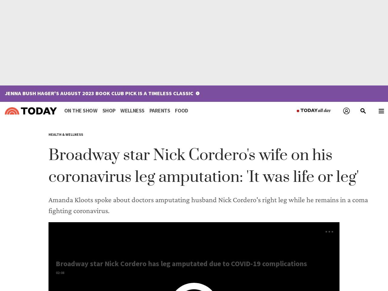 Nick Cordero's wife on his coronavirus leg amputation: 'It was life or leg'