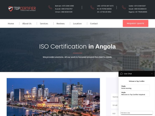 ISO, CE Mark, VAPT & HACCP Certification Company in Angola | TopCertifier