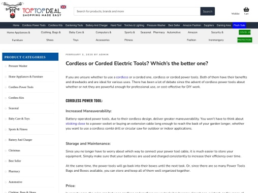 Cordless or Corded power tools? Which one is better? – Toptopdeal.co.uk