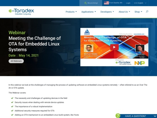 Webinar: Meeting the Challenge of OTA for Embedded Linux Systems