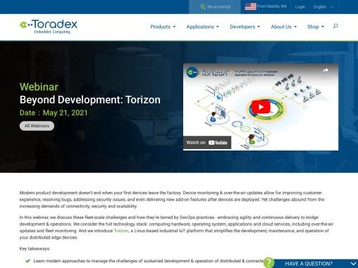 Webinar – Beyond Development: Torizon