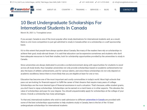 10 Best Undergraduate Scholarships For International Students In Canada