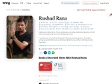 Get Personalised Messages And Recorded Video from Rushad Rana  Tring
