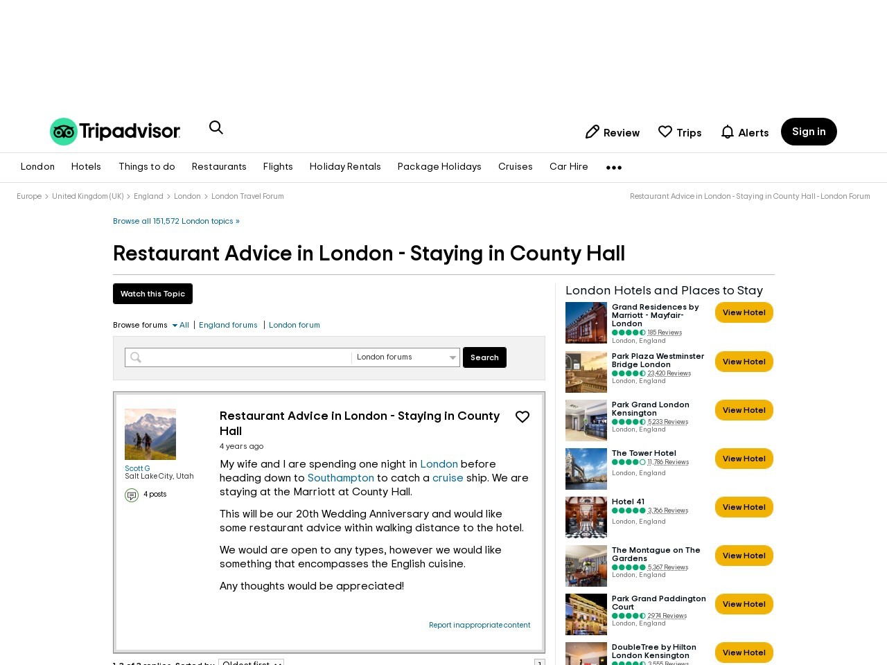 Restaurant Advice in London | Staying in County Hall