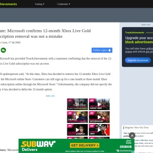 Update: Microsoft confirms 12-month Xbox Live Gold subscription removal was not a mistake