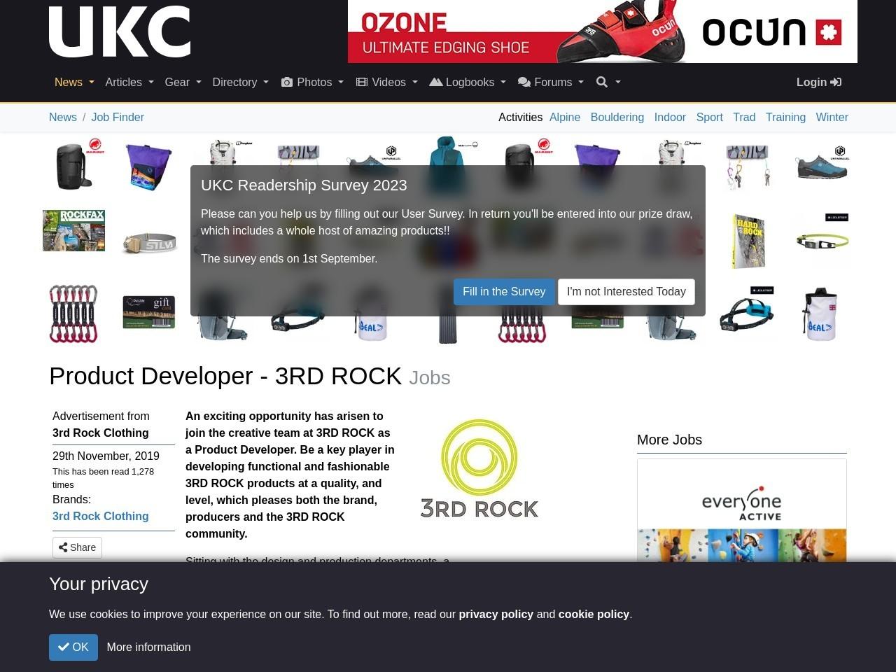UKC News – JOBS: Product Developer – 3RD ROCK