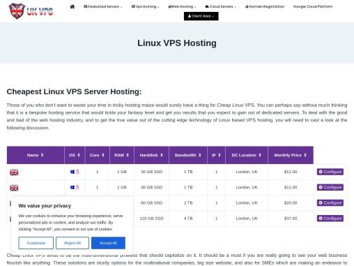 Buy UK Cheap Linux VPS Server Hosting Plans