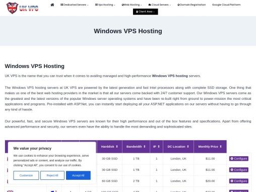 Cheap Windows VPS Hosting in UK